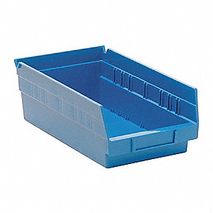 "Shelf Bin, Blue, 11-5/8"" Outside Length, 6-5/8"" Outside Width, 4"" Outside Height"