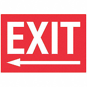 Exit Sign,7 x 10In,WHT/Engraved R,PLSTC