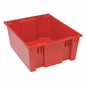 "Stack and Nest Container, Red, 10""H x 23-1/2""L x 19-1/2""W, 1EA"