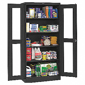 "Commercial Storage Cabinet, Black, 78"" H X 48"" W X 24"" D, Assembled"