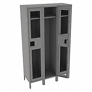 "Gray Wardrobe Locker, (3) Wide, (1) Tier Openings: 3, 45"" W X 18"" D X 78"" H"