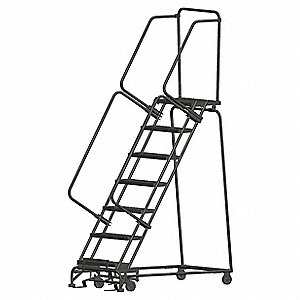 "7-Step Rolling Ladder, Perforated Step Tread, 103"" Overall Height, 450 lb. Load Capacity"