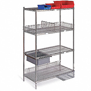 "Mobile Wire Shelving Unit, 72""W x 24""D x 79""H, 4 Shelves, Chrome Plated Finish, Silver"