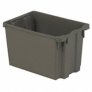 "Stack and Nest Container, Gray, 12-1/8""H x 19-1/2""L x 13""W, 1EA"