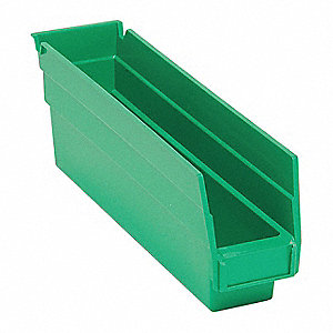 "Shelf Bin, Green, 4""H x 11-5/8""L x 2-3/4""W, 1EA"