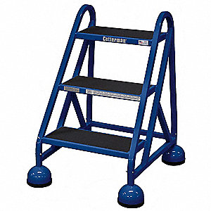 "3-Step Rolling Ladder, Rubber Mat Step Tread, 31"" Overall Height, 450 lb. Load Capacity"
