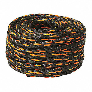 "Polypropylene Rope, 1/2"" Rope Dia., 50 ft. Length, Black/Orange"
