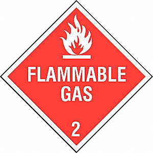 VEHICLE PLACARD,FLAMMABLE GAS W PIC