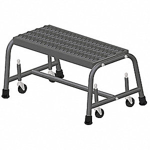 "1-Step Rolling Ladder, Serrated Step Tread, 12"" Overall Height, 450 lb. Load Capacity"