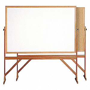 "White/Natural Melamine/Cork Combination Bulletin Board, Wood Frame Material, 77-1/4"" Width"