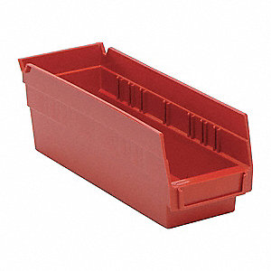 "Shelf Bin, Red, 11-5/8"" Outside Length, 4-1/8"" Outside Width, 4"" Outside Height"