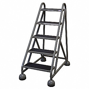 "5-Step Rolling Ladder, Antislip Vinyl Step Tread, 49"" Overall Height, 450 lb. Load Capacity"