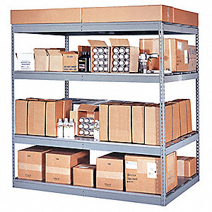 "72"" x 48"" x 84"" Steel Bulk Storage Rack, Gray&#x3b; Number of Shelves: 4"