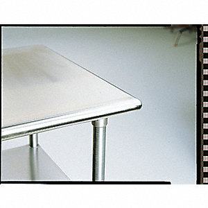 "Fixed Height Work Table, Stainless Steel, 30"" Depth, 35-1/2"" Height, 48"" Width,500 lb. Load Capacity"