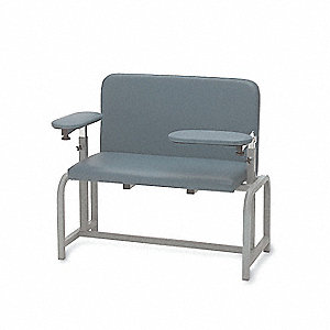 "Extra-Wide Blood Draw Chair, Gunmetal, Seat Depth 18"", Seat Width 34"", Seat Height 20"""