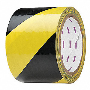"Safety Warning Tape, Striped, Roll, 3"" x 54 ft., 1 EA"