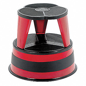 "Steel Round Office Stool, 14-1/2"" Overall Height, 350 lb. Load Capacity, Number of Steps: 2"