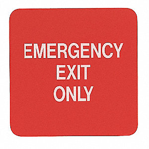 Emergency Exit Fire Sign,5-1/2 x 5-1/2In