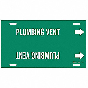 Pipe Marker, Plumbing Vent, Gn, 8to9-7/8 In