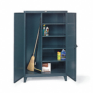"Janitorial Storage Cabinet, Dark Gray, 78"" Overall Height, Assembled"