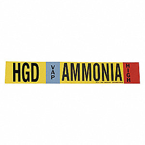 "Ammonia Vapor Pipe Marker, Fits Pipe O.D. 2-1/2 7-7/8"", High Pressure Level, HGD, 1 EA"