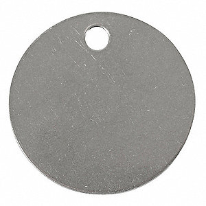 "Silver Blank Tag, Stainless Steel, Round, 1-1/2"" Height, 25 PK"