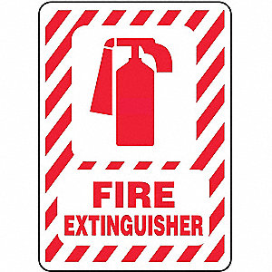 "Fire Equipment, No Header, Vinyl, 14"" x 10"", Adhesive Surface, Not Retroreflective"