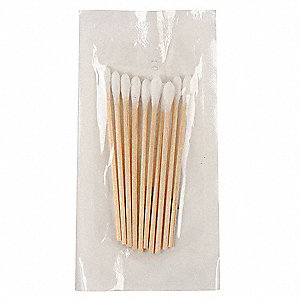 "Non-Sterile Single-Tip Cotton Tip Swab with Wood Handle, 3""L, 10 PK"