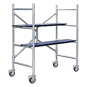 Portable Scaffold, Aluminum, 3 ft. Platform Height, 4 ft. Overall Height, 500 lb. Load Capacity