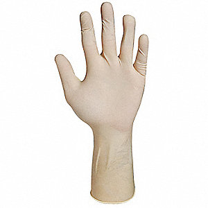 "12"" Powder Free Unlined Textured Latex Disposable Gloves, Natural, Size M, 100PK"