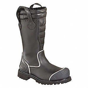 Men's Structural Firefighting Boots, Size 7-1/2, Footwear Width: W, Footwear Closure Type: Pull On