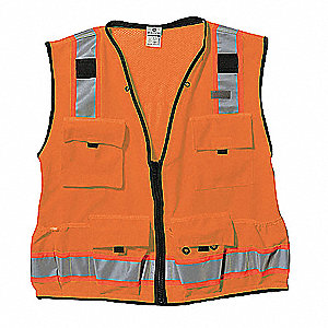 Orange/Red with Silver Stripe Traffic Vest, ANSI 2, Zipper Closure, XL