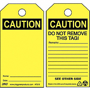 "Plastic, Blank Caution Tag, 5-3/4"" Height, 3"" Width"