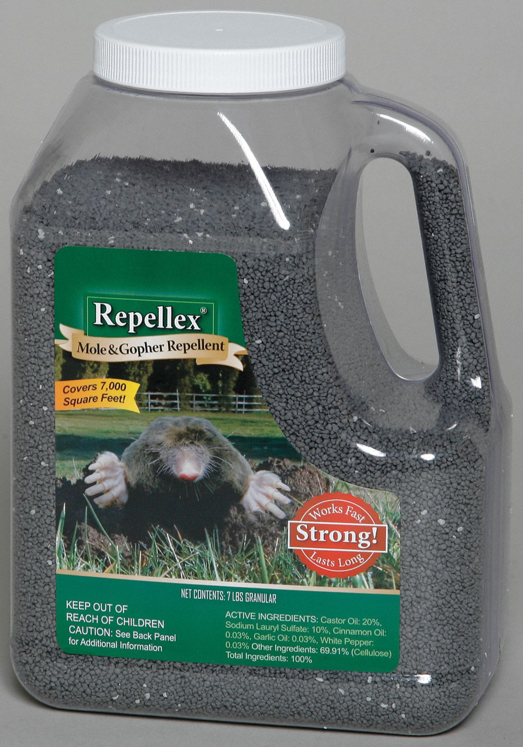 Mole/Gopher Repellent,  Granules,  7 lb,  Castor Oil, Cinnamon, Garlic, White Pepper