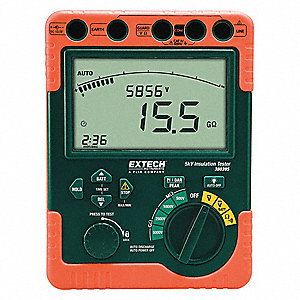 Backlit LCD with Bar Graph Battery Operated Megohmmeter; Insulation Resistance Range: 0 to 6, 0 to 6