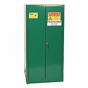 "Pesticide Safety Cabinet, Manual Door Type, 55 gal. Capacity, 65"" Height, 31-1/4"" Width, 31-1/4"" Dep"