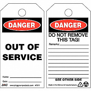 "Plastic, Out Of Service Danger Tag, 5-3/4"" Height, 3"" Width"
