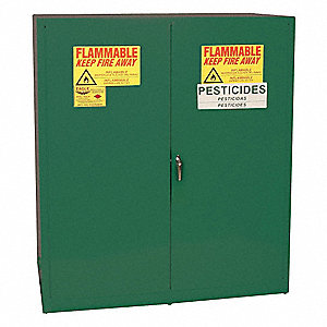 "Pesticide Drum Safety Cabinet, Manual Door Type, (2) 55 gal.  Capacity, 65"" Height, 58"" Width, 31-1/"
