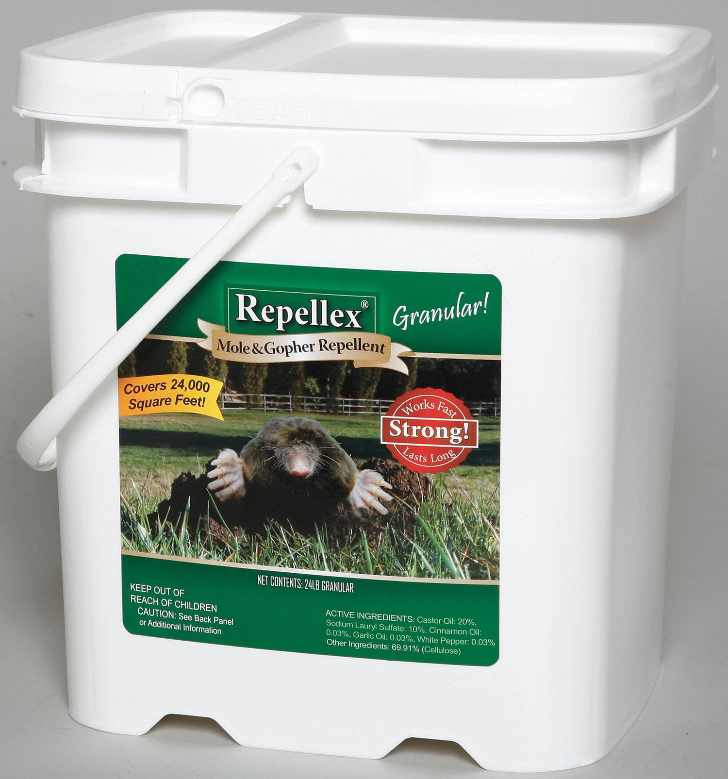 Mole/Gopher Repellent,  Granules,  24 lb,  Castor Oil, Cinnamon, Garlic, White Pepper