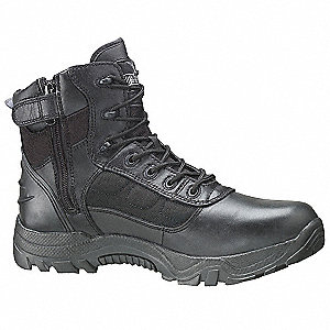 "6""H Unisex Work Boots, Composite Toe Type, Leather and Nylon Mesh Upper Material, Black, Size 9-1/2W"