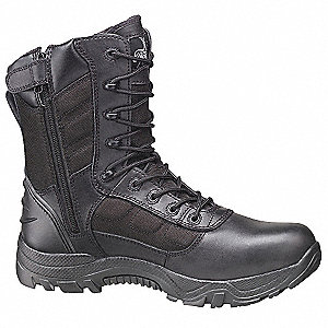 "8""H Unisex Work Boots, Composite Toe Type, Leather and Nylon Mesh Upper Material, Black, Size 8W"