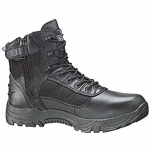"6""H Men's Work Boots, Plain Toe Type, Leather and Nylon Upper Material, Black, Size 9"
