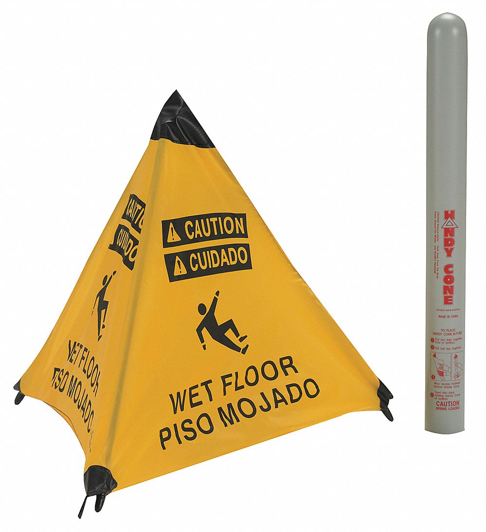 Folding Safety Cone,  Sign Header Caution/Cuidado,  Wet Floor,  Number of Printed Sides 4,  Nylon