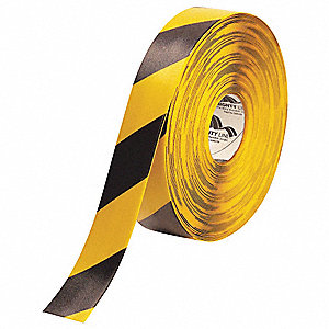 "Floor Marking Tape, Striped, Continuous Roll, 2"" Width, 1 EA"