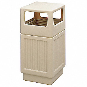 38 gal. Square Beige Trash Can