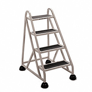 "Aluminum Mobile Step Stand, 41-1/2"" Overall Height, 300 lb. Load Capacity, Number of Steps 4"