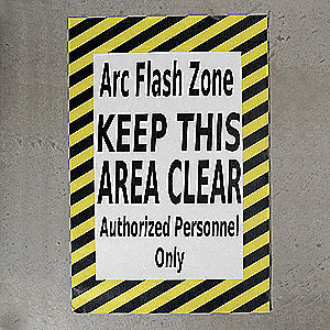 Floor Arc Flash Zone Sign,24 x 36 In.
