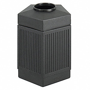 "30 gal. Pentagon Open Top Trash Can, 28-3/4""H, Black"