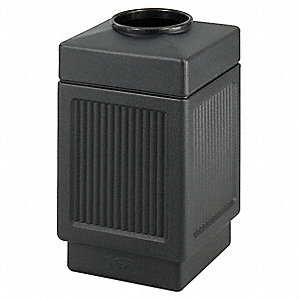 Trash Can,38 gal.,Black,Plastic