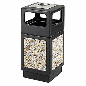 Ash/Trash Can,38 gal.,Black